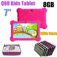 Q88 7 polegadas Crianças Tablet A33 Quade Núcleo 8GB 512MB Android 4.4 5.1 Tablet PC Support TF Com silicone suave Case-1