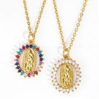 Gökkuşağı Bakire Mary Kolye Kadınlar Için Altın Zincirler Kolye Kristal Barış Zirkon Katolik Takı Virgen de Guadalupe Nkeq941