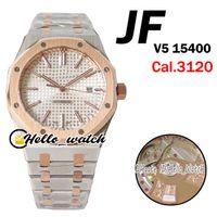 JFF Super V5 15400 Cal.3120 Mens Automático Relógio de Prata Textura Discagem Marcadores De Reboque Tone Roes Ouro Aço Bracelete Versão Top Olá_Watch