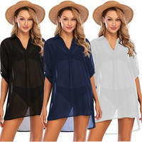 Loose Womens Beach Chiffon Blouses 1 2 Sleeve V Neck Comfort...