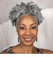 Натуральные серебристые серые человеческие волосы для волос на удлинитель 10-20 дюймов короткие высокие серые хвостики Updo натуральные волосы волосы для волос для волос соль и перец