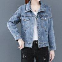 Chaqueta del bordado Letters Jeans Women Coat chaquetas de mezclilla otoño del resorte de Dames Spijkerjack informal solapa de manga larga de la manera del cortocircuito