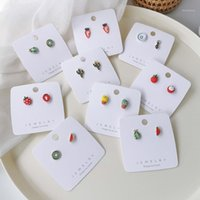 2020 Корейский лето Новые сладкие фрукты серии асимметричные мелкие серьги для женщин Кактус арбуз Brincos1