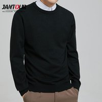 Мужские свитеры Jantour 2021 бренд осенний свитер Чистый цвет O-воротник вязание для мужчин с длинными рукавами Большой размер L-5XL