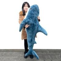 أغنية يوليو 60/80/100 / 140 سنتيمتر مضحك لينة القرش أفخم لعبة وسادة استرضاء وسادة هدية عيد للأطفال LJ201126
