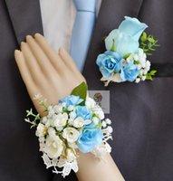 Corsácios artesanais corsages rosa casamento casamento suprimentos noivo boutonniere noiva dama de honra mão pulso flor artificial flor fs101