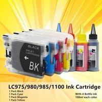 Mürekkep Kartuşları LC980 LC 985 LC 975 Kardeş MFC-5490CW için Kolay Dolum MFC-5890CN MFC-6490CN MFC-6490CN MFC-6490CW Yazıcı ile 4 şişe INK1