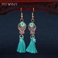 الثريا استرخى 2 ألوان mywiny الأزياء والمجوهرات مصوغة بطريقة مزدوجة الأسماك الأقراط النساء، الصينية الرياح المينا aveturine الشرابة red1