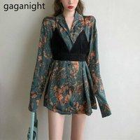 Gaganight Şifon Çiçek Gömlek Kadınlar Baskılı Vintage Turn-down Yaka Uzun Kollu Gömlek Ofis Bayanlar Bahar 2021 Kadın Bluz