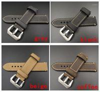 Vente en gros-1pcs 20mm 22mm 24mm 26mm 26mm Cuir Crazy Horse Horse Watch Band Montre Bracelet Homme Montre Homme Sangles Noir Café Gris -WB120751