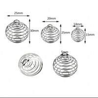 Ücretsiz kargo 100 adet / grup Gümüş Kaplama Spiral Boncuk Kafesler Kolye Bulguları 9x13mm Takı Bulguları Yeni Takı Yapımı DIY 62 N2