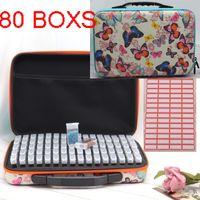 80Boxs Diamante Diamond Pinting Box Farfalla Diamante Ricamo Accessori Diamante Mosaico per carry Case Scatola di Storage Box Borsa a mano Strumenti 201202