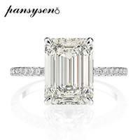PANSYSEN real prata esterlina 925 Emerald Cut Criado Moissanite diamante anéis de casamento para as mulheres Luxo Proposta anel de noivado 201116