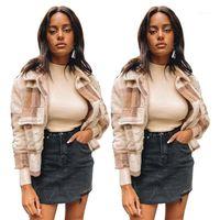 Plaid Wool Blend Jackets Womens Designer Plus Size Lapel Neck Long Sleeve Thick Warm Winter Coat Fashion Casual Women Fleece Outerwear