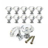 Botão de gabinete puxão punho 30mm forma de diamante cristal gaveta de vidro cozinha guarda guarda-roupa hardware puxões DDE3987