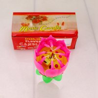 Lotus Lotus Música Vela Canto fiesta de cumpleaños de la torta de Música flash Vela Flor de la música torta de la vela Accesorios Suministros de vacaciones RRA3758