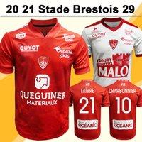 20 21 Charbonnier Cardona Stade Brestois 29 Mens Soccer Jerseys Faivrr Diallo Lasne Faussurier Accueil Chemise de football à manches courtes