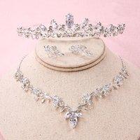 Luxe Cubic Zirconia Tiara et Collier Boucle d'oreille pour femme Ensemble de bijoux de mariage pour la mariée Zircon Crowns CZ Bijoux Bijoux ML602