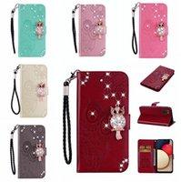 Pour Samsung A02S A12 A32 A52 A52 A72 LG K52 LG K52 3D Diamond Owl Cuir Case Bling Dessin animé Fleur Street Stand Carte d'identité Couvercle Slot Téléphone Luxe