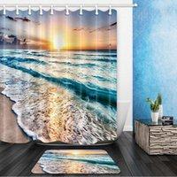 Душевые занавески океанский пляж пейзаж набор заката морская волна морская вода декор дома домашняя ванна ванна занавес и фланель ковролин