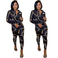 Imprimir Mujeres Dos piezas Suelte Primavera Cadena de otoño Estampado de 2 piezas Ropa de manga larga Camisas y pantalones Trajes Streetwear