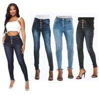 Jeans das mulheres Mulheres da cintura alta mamãe outono magro preto calças azuis esticar calças magras para senhoras moda lápis desmina botão fechamento