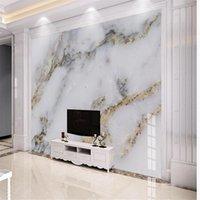 mármol de oro minimalista moderna fondos de pantalla de la pared de fondo murales de papel pintado 3D para la sala de estar 3D personalizadas papel pintado