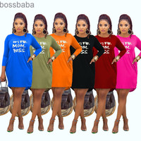 Hot selling 2021 spring and Autumn new women's fashion leisure home letter offset Spot Stylist Solid color printing High Quality Dresses 815
