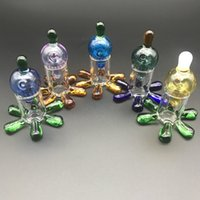 Perfect Colorful Glass Carb Cap with carb cap Stand holder for quartz banger dab nail Oil Rig glass water bong pipes free shipping