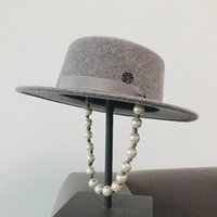 100% Wool Wide Brim Porkpie Fedora Pearl Chain Decoration Fe...