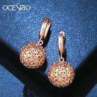 OCESRIO Trendy 585 Goldohrringe für Frauen Rose Gold Cooper Charm Kugel Ohrringe 585 Schmuck Frauen Zubehör ERS-n36