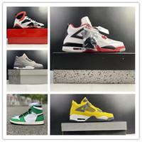 Nuevo Mejores 4es Fuego Red Cool Grey Grey 1 4 White Green Amarillo Iluminación Hombres Zapatos de baloncesto Zapatillas deportivas Deportes Entrenadores al aire libre con caja