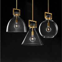American RH Lamp Edison E27 LED Pendant Lights Lustre Led Luminarias Lighting Plate Gold Metal Glass Led Lamparas Fixtures