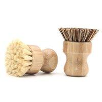 الخيزران الطبيعي صحن فرك جولة مقبض الفرشاة وعاء المنزلية الصحن مطبخ بالم الشعر الخشن تنظيف فرش HHA1658