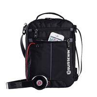 "Swiss Shoulder Leisure Briefcase Small Messenger Bag for 9.7"" 11""Tablets and Documents Men's Black Handbag crossbody Q1104"