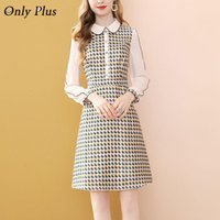 Only Plus Tweed Plaid Elegant Party Dress Knee Length Splici...