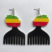 Dangle Chandelier Africa Nero Queen Colorato Pettine Barbiere Legno Gioiello Orecchini Hiphop Rock Party Gioielli in legno Accessorio DIY1