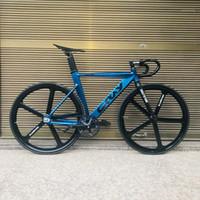 الدراجات Fixie دراجة 52 سنتيمتر 56cm إطار واحد سرعة لحام مع ألياف الكربون شوكة اللون سبائك الألومنيوم المسار دراجة 700C1
