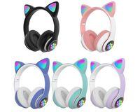 Fahsion Luxury Bluetooth auriculares que brillan intensamente LED LED Gato Oído PAW Auricular inalámbrico VS F9 B10 para iPhone 11 12 Samsung