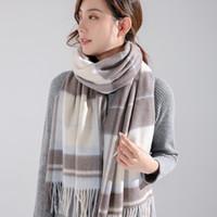女性のためのスカーフ100%ウールの格子縞冬のショールとラップシールecharpeカシミヤFemme
