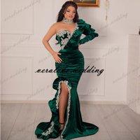 Vestidos de Novia Вечернее платье Mermid Split 2021 бархат на плечо с длинными рукавами с длинными рукавами Ближний Восток Prom Pretion Prade