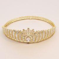 Pieno intorno Glod cristallo barocco Vintage Grande Corona Pageants regina Zricon Strass Tiara per nozze da sposa capelli Accessoriesl