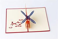 حار اليدوية 3D المشاركة بطاقات طائرة / هليكوبتر يطفو على السطح بطاقات المعايدة مكعب مخصص بطاقات هدايا الأعمال الحرة EEA2095