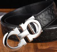 Mode Mann-Gürtel Gitter Luxuxentwerfer Glatte Oberfläche Gold-Silber-Schwarz-Schnalle echtes Leder-Gurt für Männer Taille Drop-Shipping