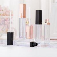 5 ml Tube carré d'émail à lèvres Lip Gloss Tubes en plastique contenants en or rose lèvre tube émail tube vide peut être personnalisé LOGO