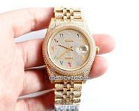 2020 9 Arten 41mm 126300 Volldiamant 18k Gold Cal.3255 Autoamtische Herrenuhr Diamanten Kegel Kegel Arabisch Dial Diamant Armband Gents Uhren