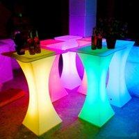 Nueva recargable LED luminoso mesa de centro brillante impermeable mesa de bar llevado iluminó barra de mesa de café de suministro kTV fiesta disco
