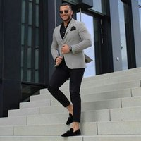 Grey Men Business Suits for Groom Tuxedo 2Piece Bridegroom Outfit Slim Fit Terno Masculino Man Attire Groomsmen Blazers Costume Homme
