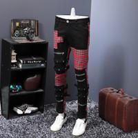 erkek Men 2020 İskoçya ekose patchwork çapraz ince düz kot Trendy bandaj kot pantolon için Jeans tasarımcılar