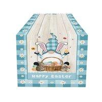 Biancheria di cotone del corridore della tavola di Gnome di Pasqua Biancheria di cotone felice Gnomi di Pasqua di Pasqua Coniglio delle uova colorate antiscivolo Tavolo rettangolo Runner
